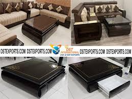 designer wood sofa set with coffee