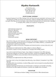 1 Assistant Front Office Manager Resume Templates Try Them Now