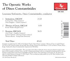 Dinos Constantinides: Operatic Works / Terrence Brown; Susan Ruggiero; Amy  Porter; - HBDirect Genres