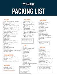 Packing Check List 2019 Ragnar Trail Ultimate Packing List Ragnar Blog