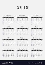 2019 Year Calendar Vertical Design