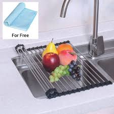 roll up dish drying rack stainless steel kitchen over sink drain board mat tax 0
