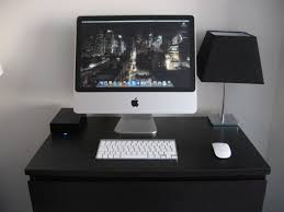 astounding imac computer desk with black table lamp and white paint walls for modern home office design astounding home office ideas modern astounding