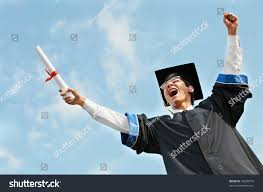 excited graduate student gown risen hands stock photo  excited graduate student in gown risen hands holding diploma over blue sky