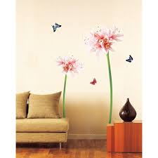 pink and white lily flowers wall decals