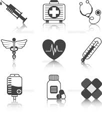Ambulatory Healthcare Medical Pharmaceutical Icons Set With Heart Stethoscope Asclepius Emblem Abstr