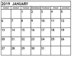 2019 Calendar Printable Template Best Free January 2019 Blank Calendar Printable Templates Pdf
