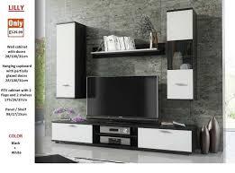 Brand New TV WALL UNIT SET LIVING ROOM 4 UNITS WHITE, BLACK WALNUT OAK 1