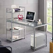 China Modern Design Computer Table, Made of Tempered Glass and Steel Tube,  Easy to