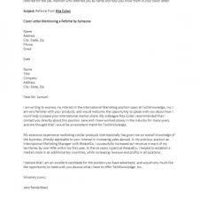 Referral Cover Letter Cover Letter Examples For Resume Entry Level