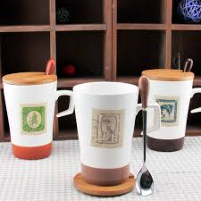 office cups. Zakka Retro Stamps Ceramic Cup With Cover Glass Stainless Steel Mug Office Sent Lid Cups And W