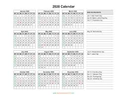 Printable Calendars 2020 With Holidays Free Printable 2020 Calendar With Us Holidays Blank