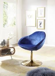 Wohnling Loungesessel Sarin Blaugold Wl5920 Aus Samt Und