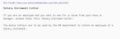 raise salary letter salary increment sample letter from company to employee