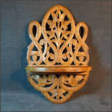 here to india ornate carved wood wall shelf 1950s vintage home decor 17077 45