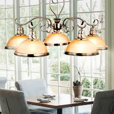 Kronleuchter Landhausstil Decken Hänge Lampe Pendel Alt Messing Luster Glas Amber Leuchte Globo 6905 5