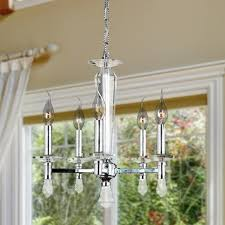contemporary 5 light chrome finish crystal candle mini chandelier 16