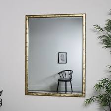 large gold rectangle bamboo mirror 90cm