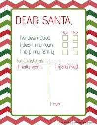 Blank Christmas List Dear Santa Christmas List Printable