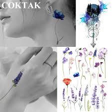 акварельные лавандовые цветы фиолетовые татуировки временный женский