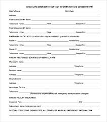 Emergency Form For Daycare Emergency Contact Forms 11 Download Free Documents In Pdf