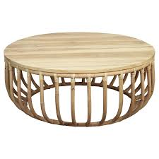 rattan round coffee table 95cm natural