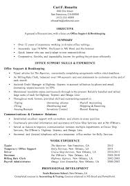 resume sample office support and bookkeeping bookkeeper resume examples