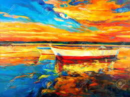 original oil painting of boat and sea on canvas sunset over ocean modern impressionism