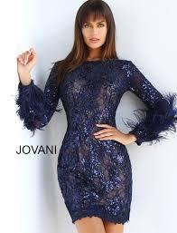 Jovani 63351 | Ivory short lace feather sleeve wedding dress