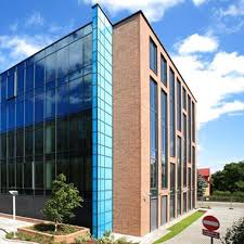 corner perspective view of our gdansk four story brick and glass office building beautiful office building