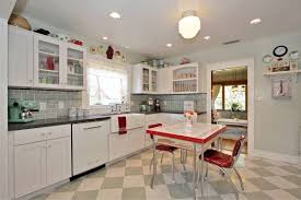 Checkered Kitchen Floor Retro Kitchen Design Ideas White Granite Countertop In Open