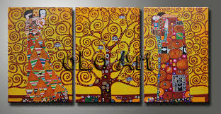 room decoration canvas art oil painting the tree of life gustav klimt size 24x48inch h quality guarantee 100 handmade free ship in painting calligraphy