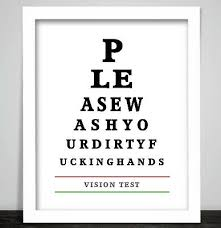 A Rude Funny Eye Chart Toilet Bathroom Loo Print Poster