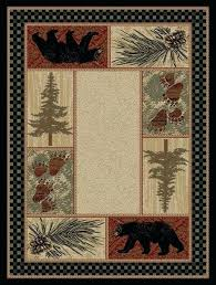 rustic cabin rugs pine forest bear rug cottage area