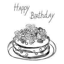 Birthday Cake In Sketch Style Illustrations Creative Market