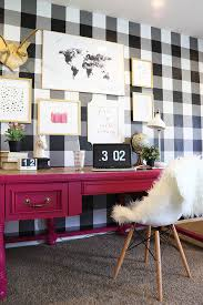 wallpaper for home office. How To Buffalo Checkered Gingham Wall Black White Wallpaper Diy Tutorial Spring Decor Design Trends For Home Office