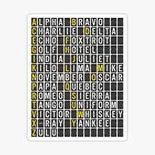 Pilots use a phonetic alphabet to ensure that there is no confusion when referring to various aircraft, airports, runways and gates. Military Alphabet Stickers Redbubble