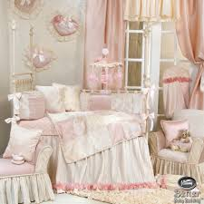 great picture of vintage girl baby nursery room design using flare white and pink baby bed valance including cream pink baby crib bedding set and light pink