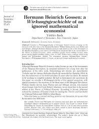 Hermann Heinrich Gossen A Wirkungsgeschichte Of An Ignored