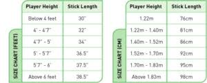 Field Hockey Stick Length Chart How To Size A Hockey Stick Chart 2019