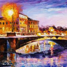 lilac shadow palette knife oil painting on canvas by leonid afremov size 24