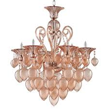 bella vetro 6 light pale blush murano style glass chandelier kathy kuo home
