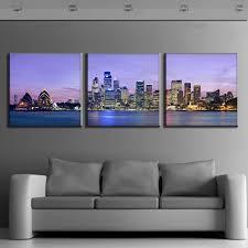 discount 3 pcs set framed purple landscape the night of sydney