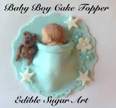 Fondant Baby Boy Cake Topper Baby Shower Baptism Christening Baby