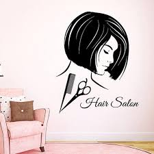 The salon is about 4,000 sq. Fashion Girl Hairdressing Beauty Salon Decor Scissors Comb Vinyl Sticker Art Mural Make Up Sticker Decal Size 33x45 Color Black On Sale Overstock 14751607