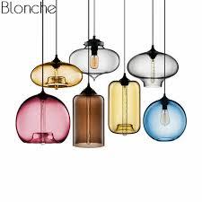 Online Shop Modern Stained <b>Glass</b> Led <b>Pendant Lights Nordic</b> ...
