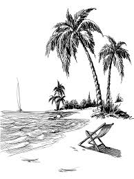 Beach Line Art Printed Photo Background 7407 Dessin Plages