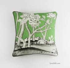 ... Custom Pillows 24 X 24 in Mary McDonald Chinois Palais in Lettuce with  Robert Allen Kilrush ...