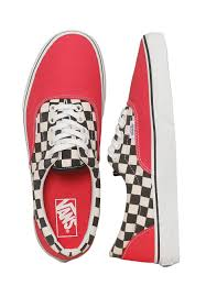 vans shoes red and white. vans - era 2-tone check rouge red/true white shoes impericon.com worldwide red and