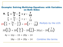 example solving multistep equations with variables on both sides